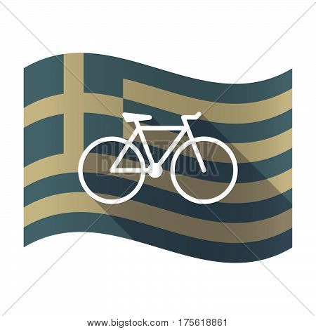 Long Shadow Greece Flag With A Bicycle