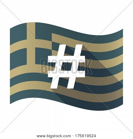 Long Shadow Greece Flag With A Hash Tag
