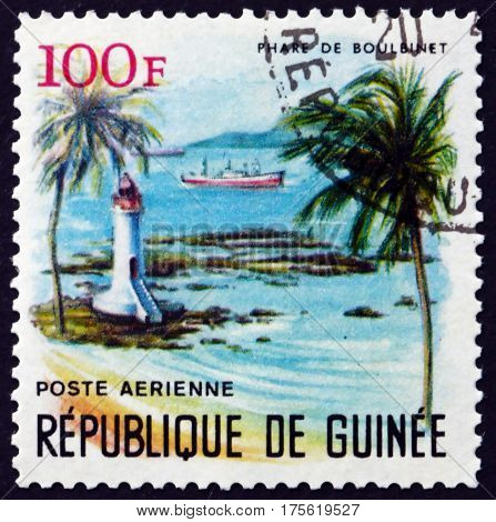 GUINEA - CIRCA 1966: a stamp printed in Guinea shows Boulbinet Lighthouse circa 1966