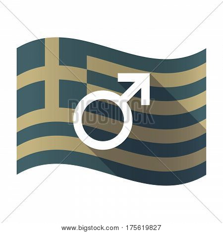 Long Shadow Greece Flag With A Male Sign