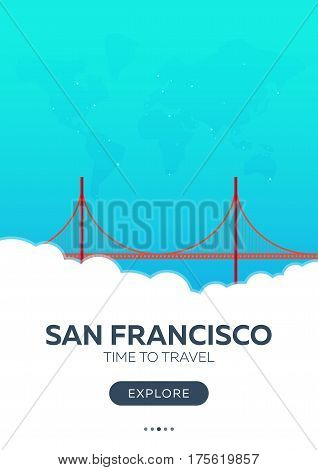 Usa. San Francisco. Time To Travel. Travel Poster. Vector Flat Illustration.