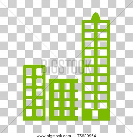 City icon. Vector illustration style is flat iconic symbol eco green color transparent background. Designed for web and software interfaces.