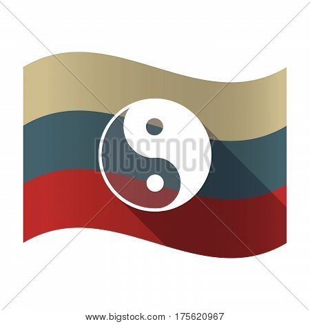 Long Shadow Russia Flag With A Ying Yang