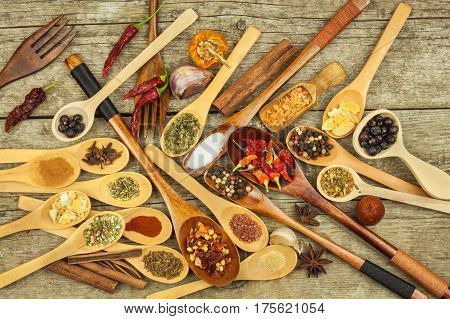 Spices on wooden spoons. Sales of exotic spices. Seasoning food. Aromatic spices