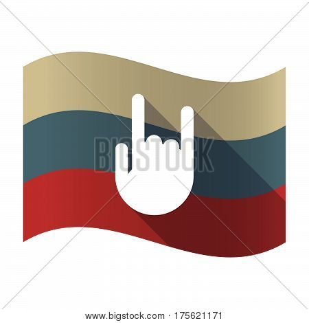 Long Shadow Russia Flag With A Rocking Hand