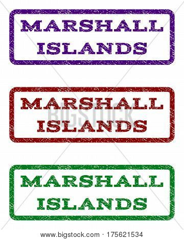 Marshall Islands watermark stamp. Text tag inside rounded rectangle with grunge design style. Vector variants are indigo blue, red, green ink colors. Rubber seal stamp with scratched texture.