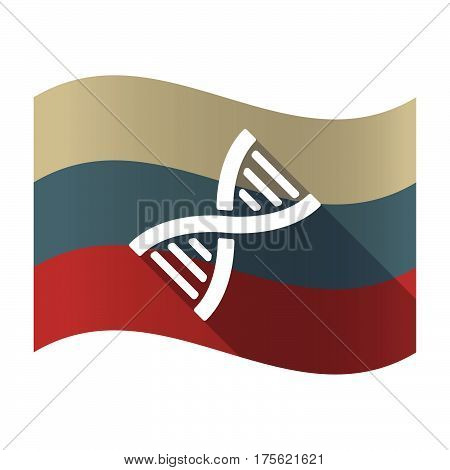 Long Shadow Russia Flag With A Dna Sign