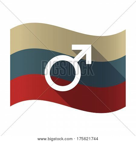 Long Shadow Russia Flag With A Male Sign