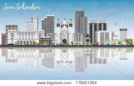 San Salvador Skyline with Gray Buildings, Blue Sky and Reflections. Business Travel and Tourism Concept with Modern Architecture. Image for Presentation Banner Placard and Web Site.