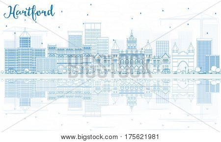 Outline Hartford Skyline with Blue Buildings and Reflections. Business Travel and Tourism Concept with Historic Architecture. Image for Presentation Banner Placard and Web Site.