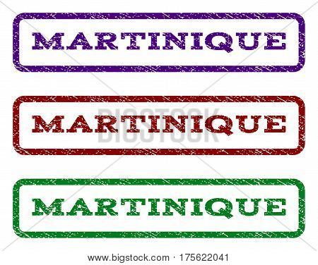 Martinique watermark stamp. Text tag inside rounded rectangle frame with grunge design style. Vector variants are indigo blue, red, green ink colors. Rubber seal stamp with dirty texture.