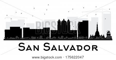 San Salvador City skyline black and white silhouette. Simple flat concept for tourism presentation, banner, placard or web site. Cityscape with landmarks.