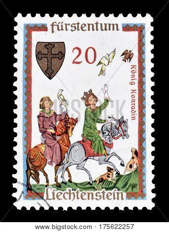 LIECHTENSTEIN - CIRCA 1962 : Cancelled postage stamp printed by Liechtenstein, that shows  King Konradin.