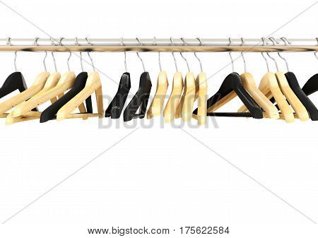 Wooden clothes hangers on clothesline white background, 3D rendering