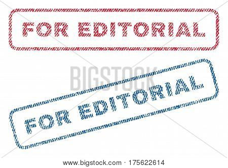 For Editorial text textile seal stamp watermarks. Blue, red fabric vectorized texture. Vector caption inside rounded rectangular banner. Rubber sticker with fiber textile structure.
