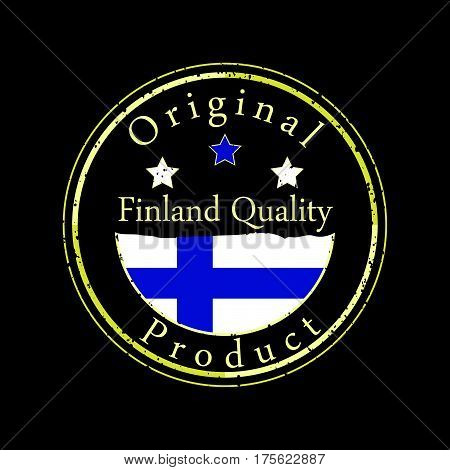 Gold grunge stamp with the text Finland quality and original product. Label contains Finland flag.