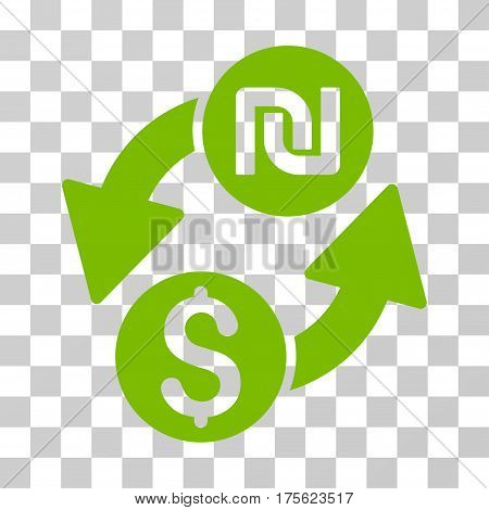 Dollar Shekel Exchange icon. Vector illustration style is flat iconic symbol eco green color transparent background. Designed for web and software interfaces.