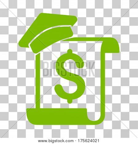 Education Invoice icon. Vector illustration style is flat iconic symbol eco green color transparent background. Designed for web and software interfaces.