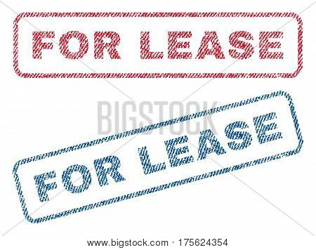For Lease text textile seal stamp watermarks. Blue, red fabric vectorized texture. Vector caption inside rounded rectangular shape. Rubber emblem with fiber textile structure.