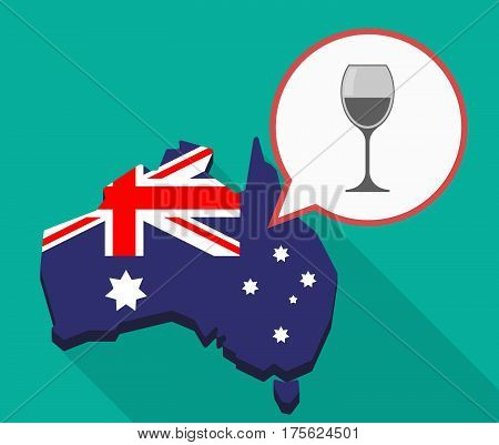Long Shadow Map Of Australia With A Cup Of Wine