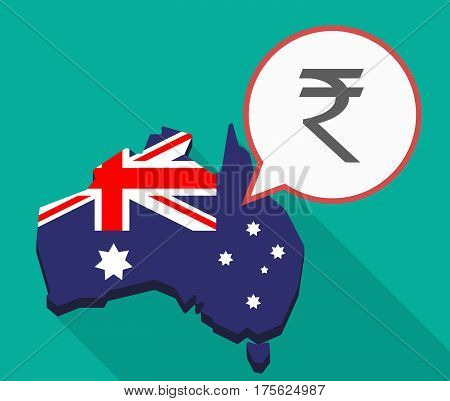 Long Shadow Map Of Australia With A Rupee Sign