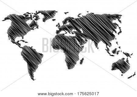 World Map - vector scribble , Sketchy World map