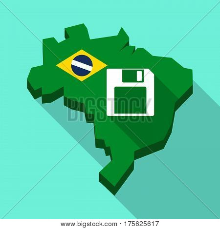 Long Shadow Map Of Brazil With A Floppy Disk
