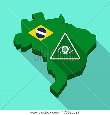 Long Shadow Map Of Brazil With An All Seeing Eye
