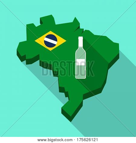 Long Shadow Map Of Brazil With A Bottle Of Wine