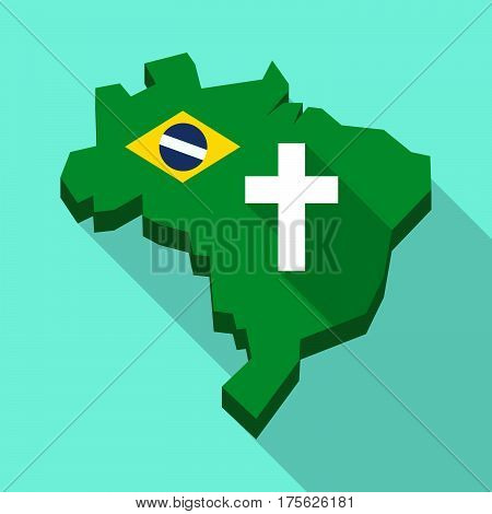 Long Shadow Map Of Brazil With A Christian Cross