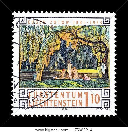 LIECHTENSTEIN - CIRCA 1996 : Cancelled postage stamp printed by Liechtenstein, that shows Painting by Eugen Zotow.