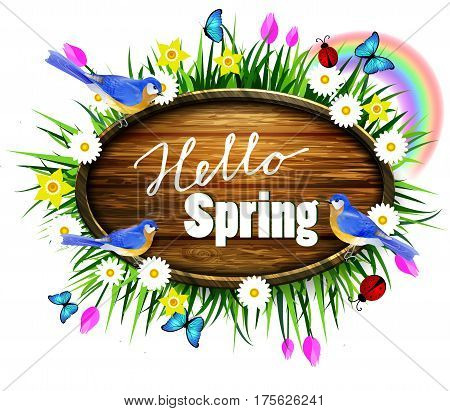 Spring wooden board on lawn with flowers blue butterflyes and ladybug bluebirds vector