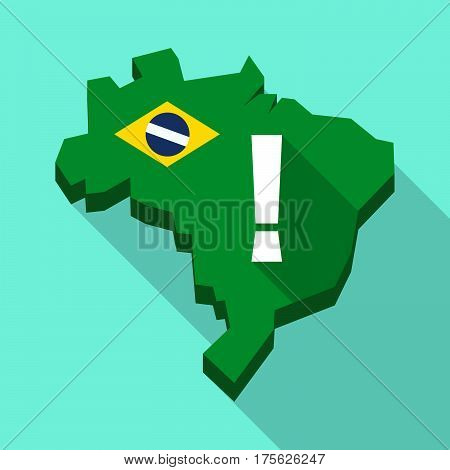 Long Shadow Map Of Brazil With An Admiration Sign