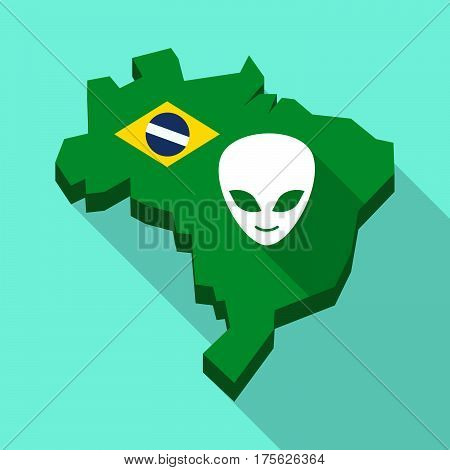 Long Shadow Map Of Brazil With An Alien Face