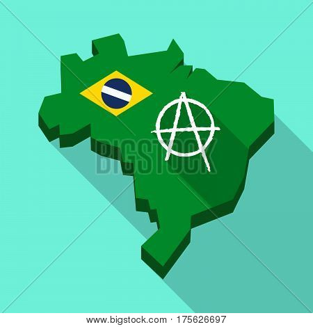 Long Shadow Map Of Brazil With An Anarchy Sign