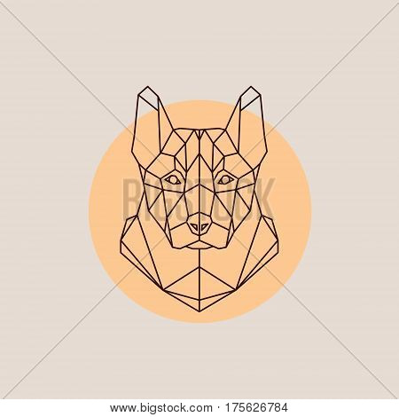 Dog shepherd head in polygonal style. Triangle vector illustration of animal for use as a print on t-shirt and poster.