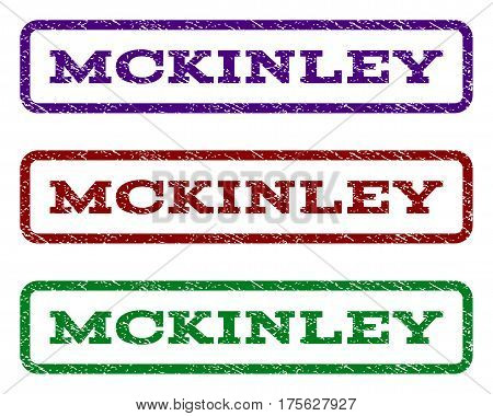 Mckinley watermark stamp. Text caption inside rounded rectangle frame with grunge design style. Vector variants are indigo blue, red, green ink colors. Rubber seal stamp with dust texture.