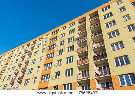 Reconstructed houses in Havirov Czech Republic built originally in communism era from perspective bottom view