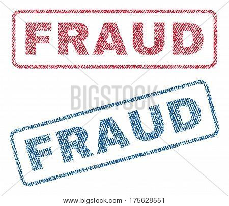 Fraud text textile seal stamp watermarks. Blue, red fabric vectorized texture. Vector tag inside rounded rectangular shape. Rubber sign with fiber textile structure.