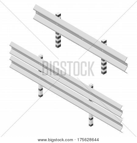 Steel road fence isolated on white background. Design elements of the guardrails. 3D isometric style vector illustration.