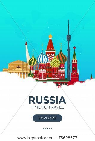 Russia. Moscow. Time To Travel. Travel Poster. Vector Flat Illustration.