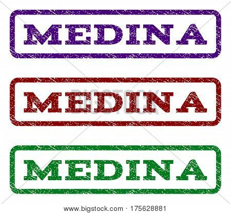 Medina watermark stamp. Text caption inside rounded rectangle frame with grunge design style. Vector variants are indigo blue, red, green ink colors. Rubber seal stamp with scratched texture.