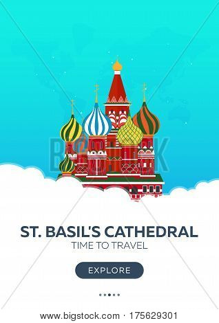 Russia. Moscow. St. Basil's Cathedral. Time To Travel. Travel Poster. Vector Flat Illustration.