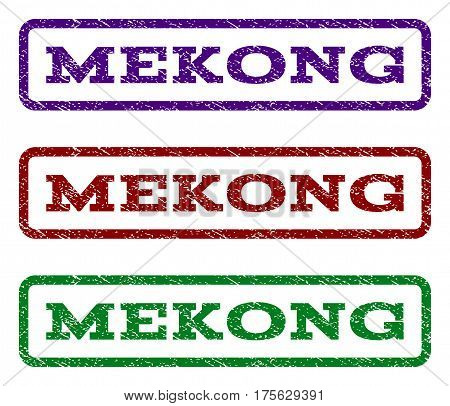 Mekong watermark stamp. Text tag inside rounded rectangle with grunge design style. Vector variants are indigo blue, red, green ink colors. Rubber seal stamp with unclean texture.