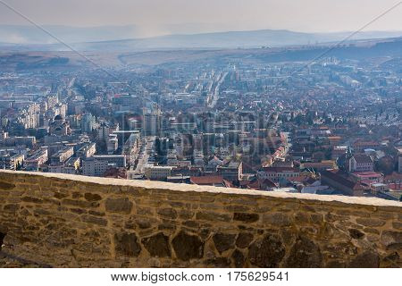 Amazing aerial view of the city Deva from the wall of fortress