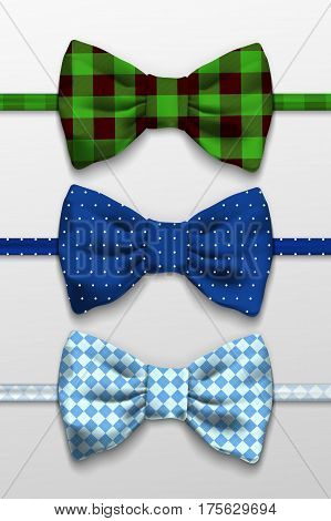 Realistic bow tie, vector illustration, isolated on white background