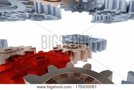 3D illustration of Silver and Orange Gears with Small Red Gears with a white background