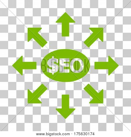 Seo Marketing icon. Vector illustration style is flat iconic symbol, eco green color, transparent background. Designed for web and software interfaces.