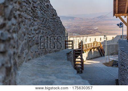 Walking through the old citadel of Deva from Romania