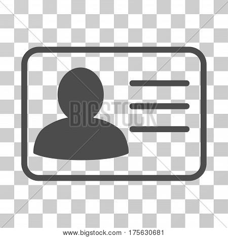 Account Card icon. Vector illustration style is flat iconic symbol, gray color, transparent background. Designed for web and software interfaces.